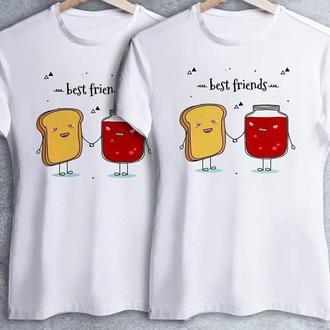 """Парные футболки с принтом """"Best Friend: Тост и Варенье"""" Push IT"""