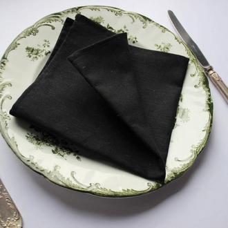 Льняные сервировочные салфетки на стол черного цвета