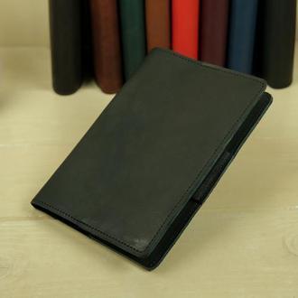 """Обложка для блокнота А5 """"Модель № 1"""" кожа итальянский краст, цвет черный"""