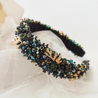 Обруч-ободок для волос, расшит хрусталём и стразами черно-зелёного цвета Ksenija Vitali