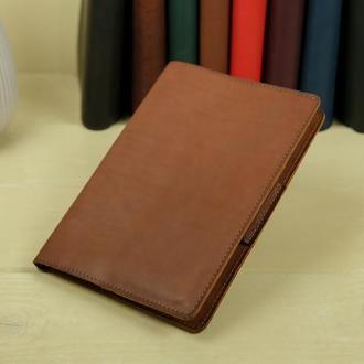 """Обложка для блокнота А5 """"Модель № 1"""" кожа итальянский краст, цвет коричневый"""