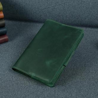 """Обложка для блокнота А5 """"Модель № 1"""" винтажная кожа Crazy Horse, цвет зеленый"""