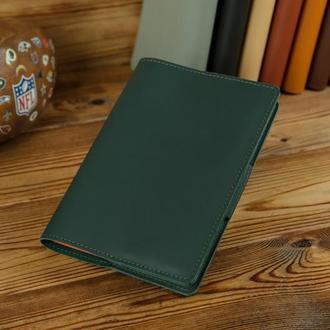 """Обложка для блокнота А5 """"Модель № 1"""" матовая кожа Grand, цвет зеленый"""