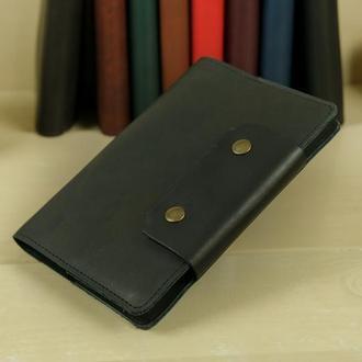 """Обложка для блокнота А5 """"Модель № 2"""" кожа итальянский краст, цвет черный"""