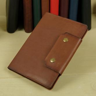 """Обложка для блокнота А5 """"Модель № 2"""" кожа итальянский краст, цвет коричневый"""