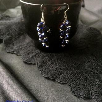 Серьги грозди украшение серебряные сережки гроздья бирюза коралл подарок бохо dzvinka guzul тренд