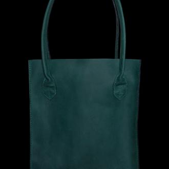 Шоппер кожаный зелёный