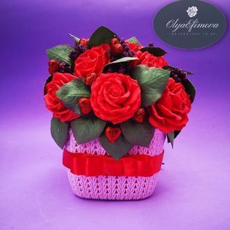 Светильник розы в корзинке