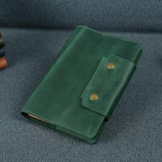 """Обложка для блокнота А5 """"Модель № 2"""" матовая винтажная кожа Crazy Horse, цвет зеленый"""