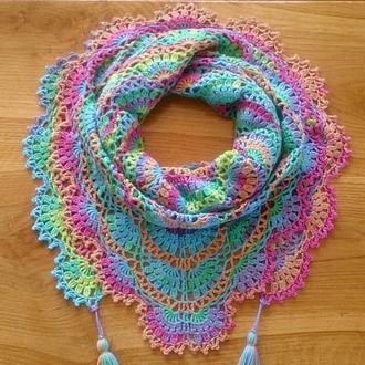 Радужный хлопковый шарф бактус на весну, подарок на 8 марта, подарок вегану