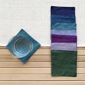 Набор текстильных подставок из льна для чашек и стаканов Тканевые подставки под горячее