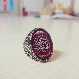 Арабское кольцо спец заказ из серебра с арабским письмом гравировка под эмаль ручной работы