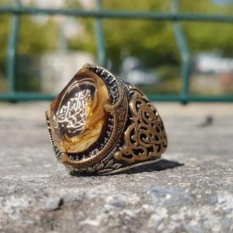 Позолоченный Перстень из серебра с золотым покрытием с изображением под эмалью по спец заказу ручной