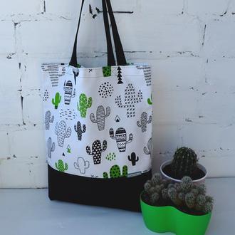 Эко сумка для покупок с кактусами, тканевая сумка пакет, эко торба, шоппер