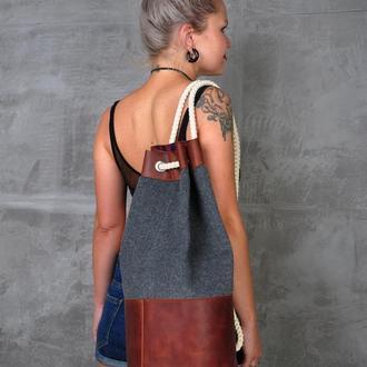 Рюкзак кожа и шерсть