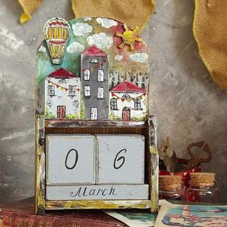 вечный календарь с домиками
