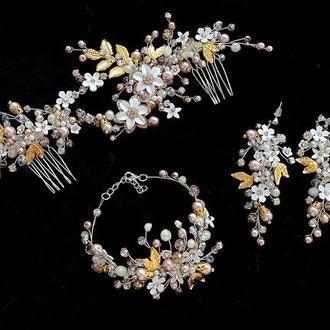 Свадебные украшение для волос, комплект украшений для невесты, украшения на выпускной, аксессуары