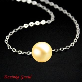 Серебряный кулон браслет серебро жемчужное украшение жемчуг Пандора dzvinka guzul тренд подарок люкс