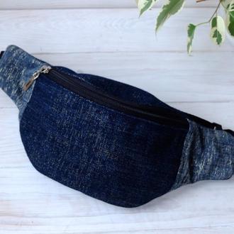 Сумка-бананка джинсовая, поясная, нагрудня сумка 69