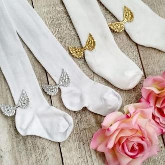 Колготки белоснежные и носочки с крылышками для малышей на крестины
