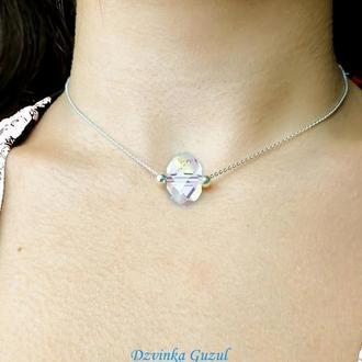 Серебряный кулон браслет серебро колье Пандора ожерелье кристаллы Сваровски dzvinka guzul тренд люкс