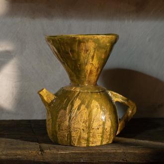 Воронка для пуровера, Альтернативный кофе, Пуровер, V60, Керамический кофейник в эстетике ваби-саби