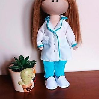 """Интерьерная кукла (тильда, тыквоголовка) """"Медик"""""""