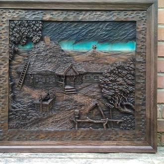 Резная картина, деревянная картина, резное панно, деревянное панно ручной работы