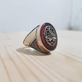 Перстень мусульманский с арабской накладкой гравировкой на камне красный Агат