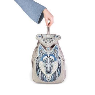 Рюкзак Серый Волк, дизайнерский рюкзак вышитый.