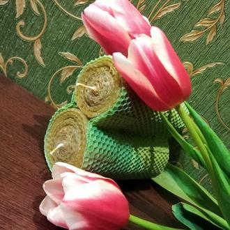 Подарок на 8 марта, свеча из вощины, живая открытка, восковая свеча на подарок ручной работы, эко