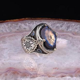 Перстень с прозрачным камнем  и рисунком ручной работы ажурный винтаж в восточном стиле