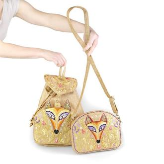 Золотая сумочка и рюкзак с вышивкой Лиса. Вышитый комплект
