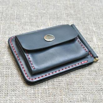 Маленький кошелек с прижимом для купюр и наружной монетницей из натуральной кожи Z06-0+red