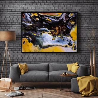 """Интерьерная картина акрилом """"Чёрно-белая абстракция с золотом"""""""