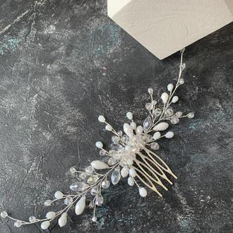 свадебное украшение в прическу невесты на свадьбу