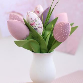 Тюльпаны текстильные розово-сиреневые