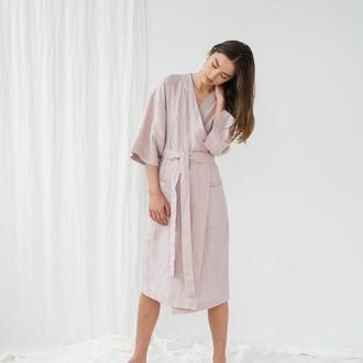 Халат льняной лиловый, халат кимоно, халат из льна