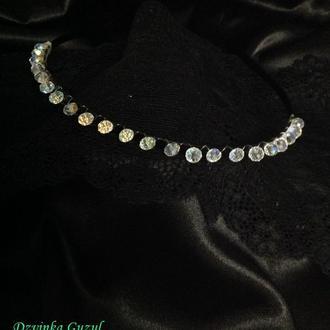 Діадема обруч для волосся корона прикраса на голову перли кристал сваровскі dzvinka guzul тренд люкс