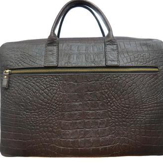 Кожаная сумка из натуральной темно-коричневой кожи