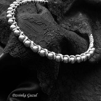Диадема Ободок для волос украшение жемчуг обруч на голову корона кристаллы Сваровски dzvinka guzul