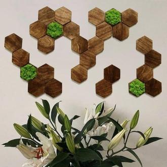 Комплект 28шт Wooden tile соты из дерева и стабилизированный мох плитка настенная декоративная
