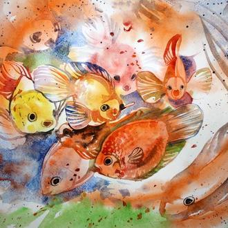 Картина Золотые рыбки. Акварель