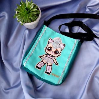 Детская сумочка с куклой Лол, бирюза