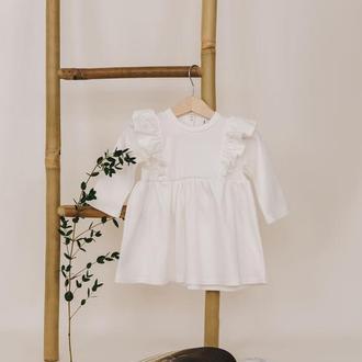 Детское белое платье для девочки из 100% хлопка