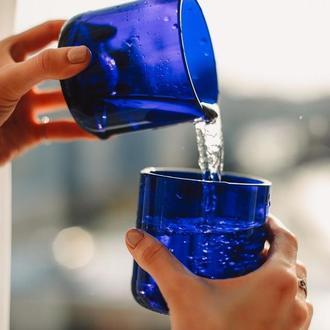 Еко стакан синее стекло 280 мл
