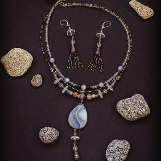 """Авторское ожерелье из натурального серого агата,горного хрусталя """"Радужный дождь"""""""