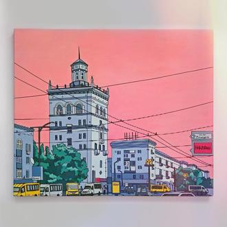 """Картина на холсте. Современный городской пейзаж """"Урбанистический закат"""""""