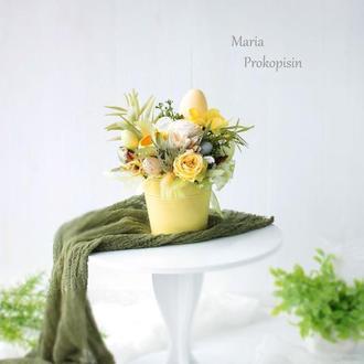 Пасхальна композиція / Композиція з натуральними матеріалами / Композиція з квітами