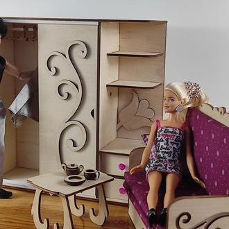 Шкаф купе для кукол/ Мебель для кукол Барби/ Мебель для кукольного дома